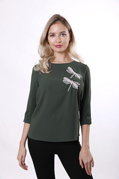 Kadın Yeşil Yusufçuk Motifli Truvakar Kollu Bluz