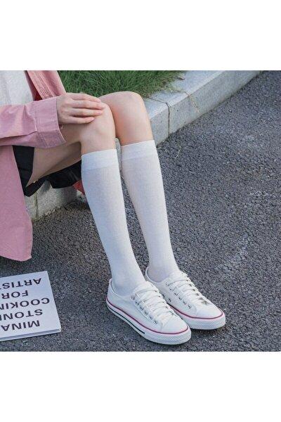 4 Çift Kadın Beyaz Diz Altı Bambu Dikişsiz Çorap