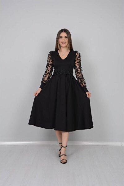 Scuba Kumaş Kolları 3 Boyutlu Çiçekli Elbise - Siyah