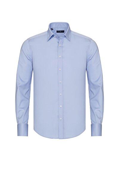 Erkek Mavi Slim Fit Double Manşet Gömlek