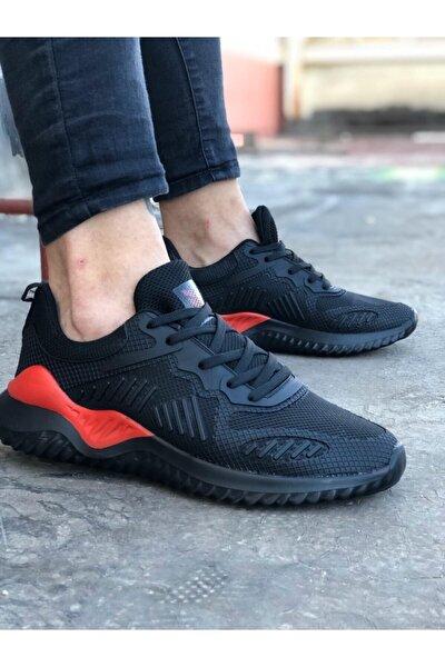 Unisex Siyah Kırmızı Sneaker Spor Ayakkabı Takax0132