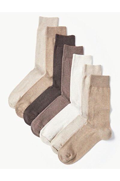 Erkek Kahverengi 7'li Cool Fresh Pamuklu Çorap T10000111C