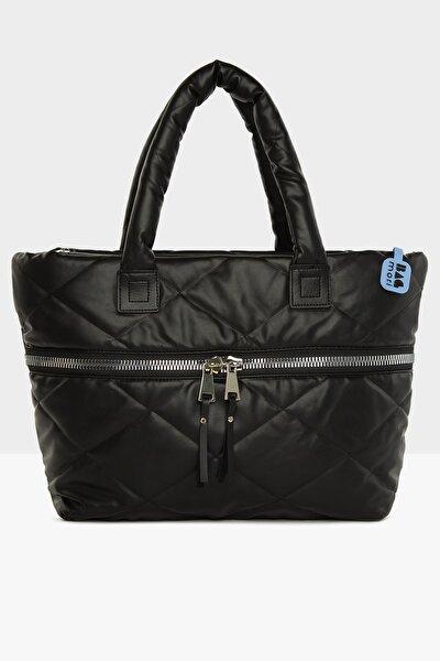 Kadın Mat Siyah Kalın Fermuarlı Şişme Çanta M000005437