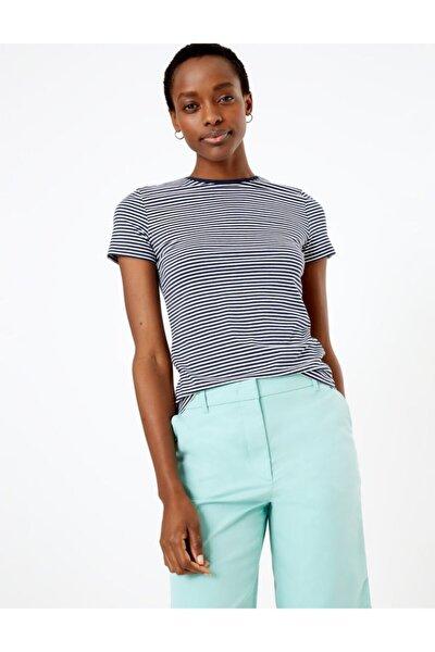 Kadın Lacivert Çizgili Fitted T-Shirt T41008762