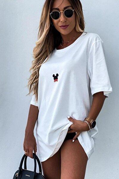 Beyaz Kadın Mickey Mouse Baskılı Oversize T-shirt