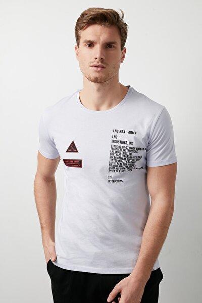 Erkek LİLA Ön Beden Baskılı Bisiklet Yaka Pamuklu Slim Fit T Shirt ABY38111LNS