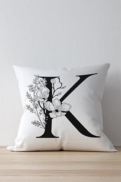 Özel Tasarım K Harfi Dekoratif Kırlent Yastık Kılıfı Beyaz Dkwhm3012