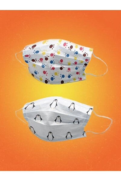 100 Adet Cerrahi Çocuk Maskesi Meltblownlu- Pati Ve Penguen Desenli