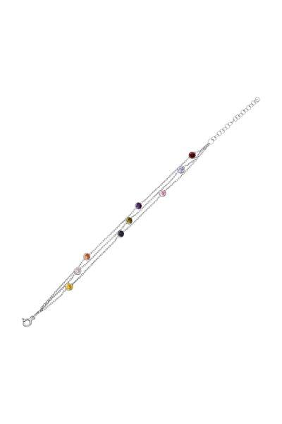 Tiffany Renkli 3 Sıra Taşlı Zincir Gümüş Bileklik Dy90by