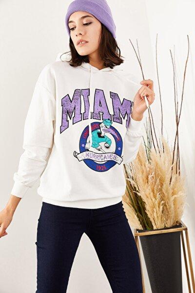 Kadın Ekru Miami Baskılı İçi Polarlı Sweatshirt SWT-19000359