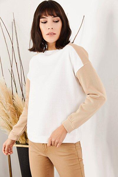 Kadın Sütlü Kahve Kolu Renkli İçi Polarlı Sweatshirt SWT-19000349