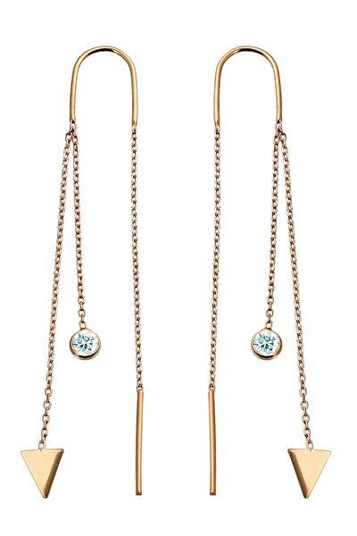 Kadın Üçgen Motifli Gümüş Tasarım Rose Zincir Küpe K041201