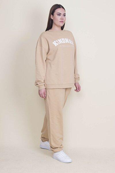 Kadın Bej Pamuklu Kumaş Rahat Kesim Ön Baskılı Sweatshirt Pantolon Takım 65N21883