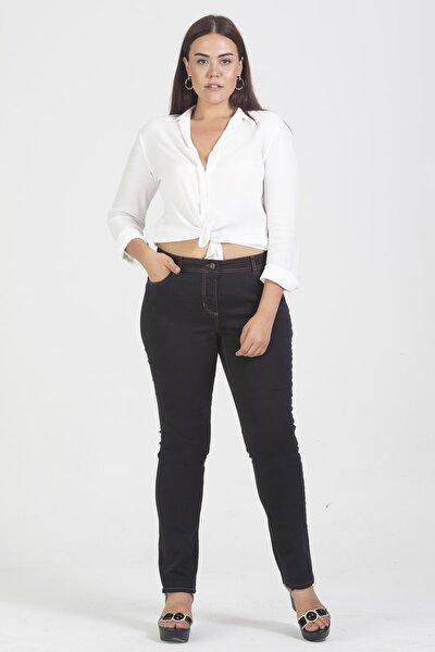 Kadın Antrasit Denim Kumaş Likralı 5 Cep Pantolon 65N21837