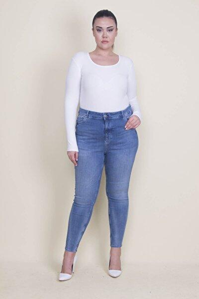 Kadın Mavi Likralı Kot Skınny Pantolon 65N21893