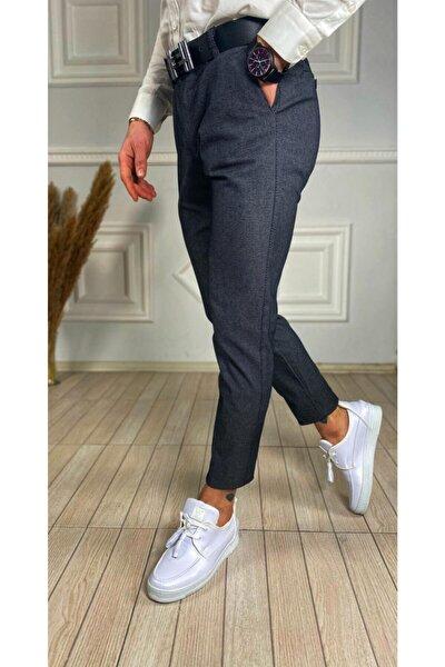 Erkek Gri İtalyan Kesim Petek Desen Keten Pantolon
