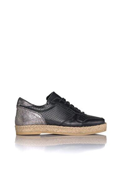 Kadın Siyah Vegan Cilt Bağcıklı Casual Ayakkabı -i3011 Siyah