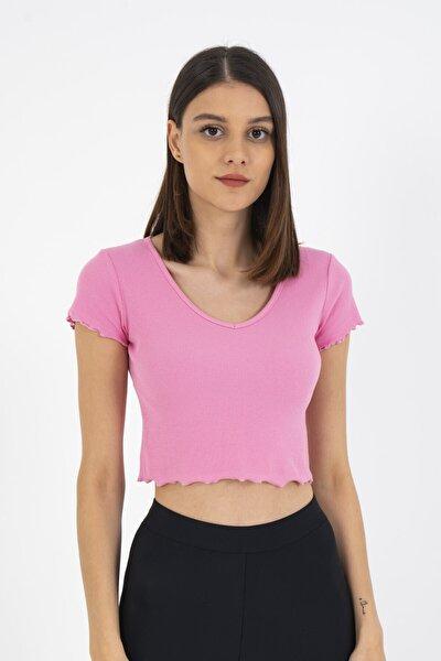 V Yaka Crop Basic Tişört