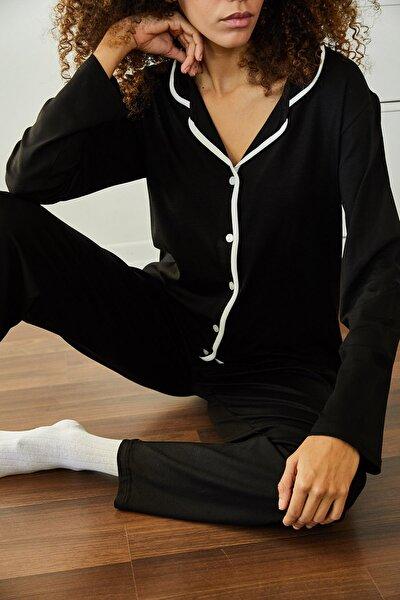 Kadın Siyah Yumuşak Dokulu Esnek Örme Pijama Takımı 1KZK8-11024-02