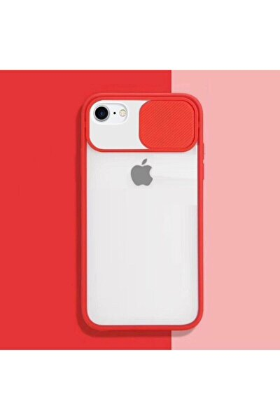 Iphone Se 2020 Uyumlu Kırmızı Kamera Slayt Korumalı Şeffaf Telefon Kılıfı