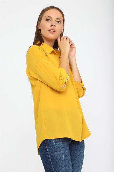 Kadın Sarı Patı Pilili Bluz K20BL133