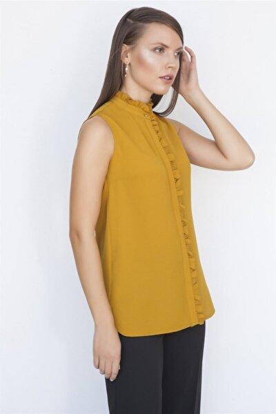 Kadın Safran Fırfır Detaylı Gömlek K19Go079