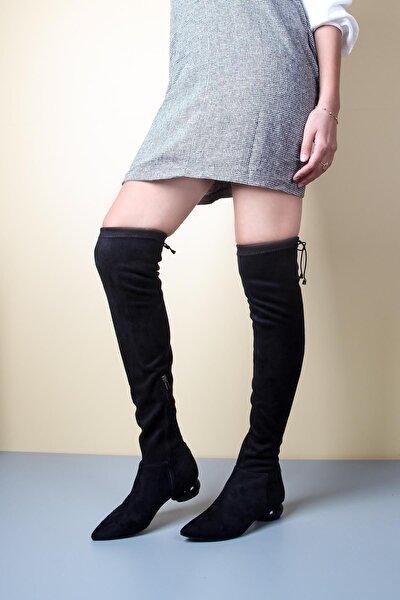 Siyah Streç Diz Üstü Çorap Çizme
