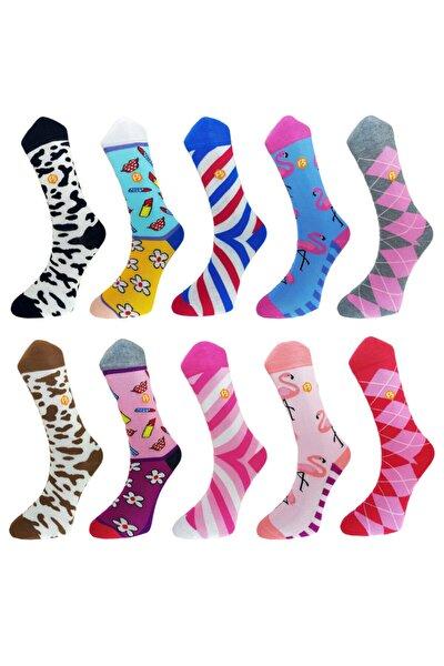 Kadın Renkli Günlük Desenli Pamuk Dikişsiz 10 Çift Çorap