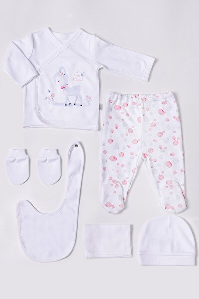 Kız Bebek Beyaz Pembe Bubble Zıbın Set 6'lı