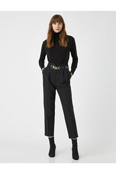 Kadın Siyah Kemerli Pileli Pantolon