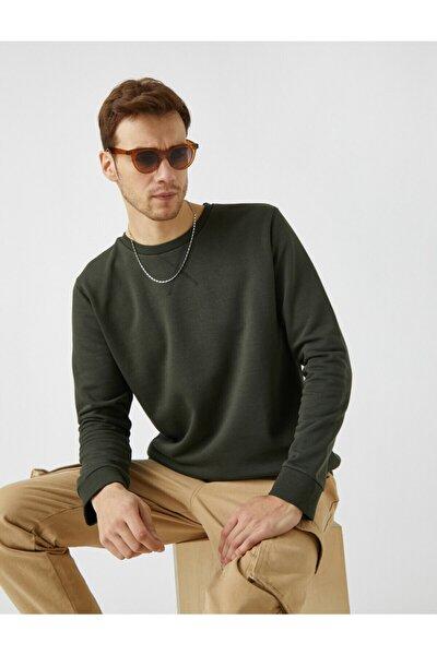 Erkek Yeşil Pamuklu Basic Bisiklet Yaka Uzun Kollu Sweatshirt