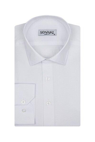 Slim Fit Armür Desenli Beyaz Erkek Gömlek