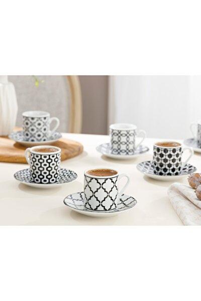 Rio Porselen 6'lı Kahve Fincan Takımı 80 ml Siyah