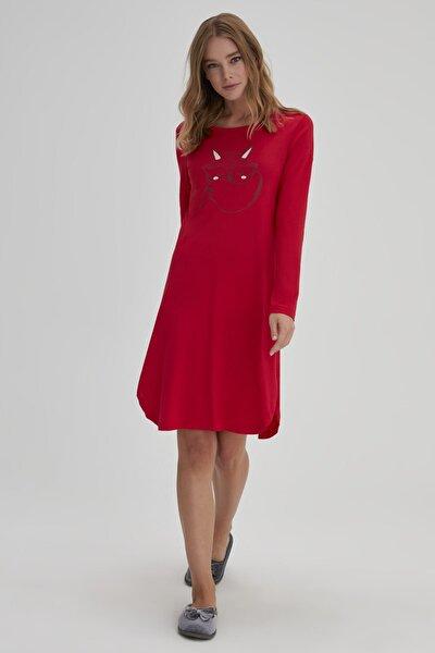 Kadın Kırmızı Modal O Yaka Tilki Desenli Gecelik