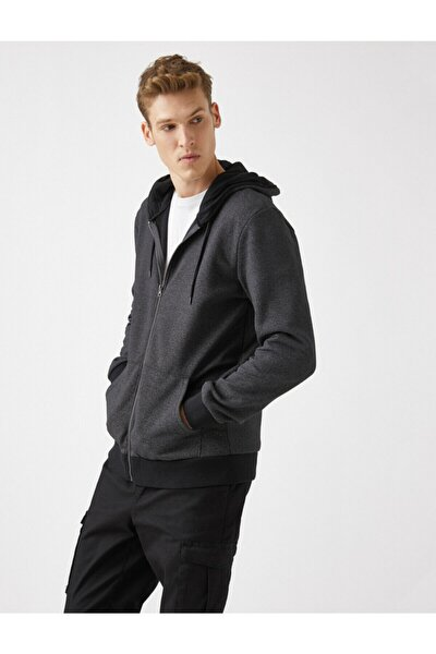 Erkek Gri Fermuarli Cepli Basic Uzun Kollu Sweatshirt