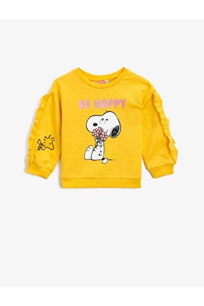 Kız Sarı Pamuklu Snoopy Lisansli Baskili Firfirli Sweatshirt