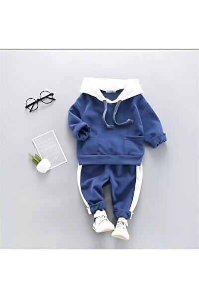 Kapşonlu Mavi Bebek Alt Üst Takım