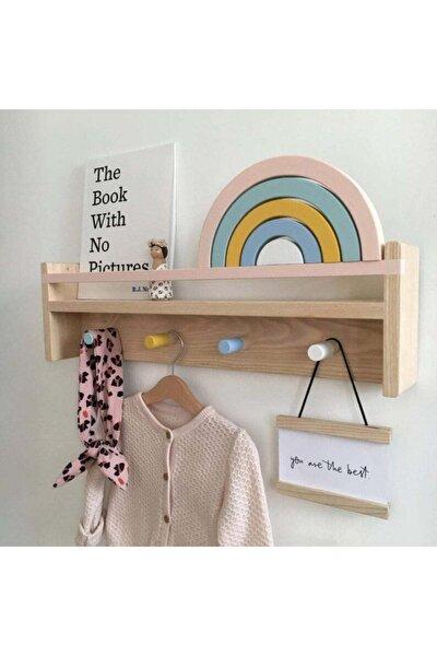 Ahşap Çocuk Odası Bebek Odası Montessori Raf, Kitaplık, Askılık