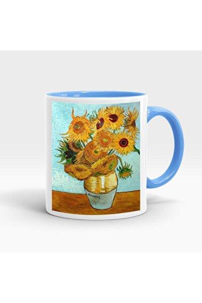 Van Gogh Baskılı İçi ve Kulpu Renkli Kupa