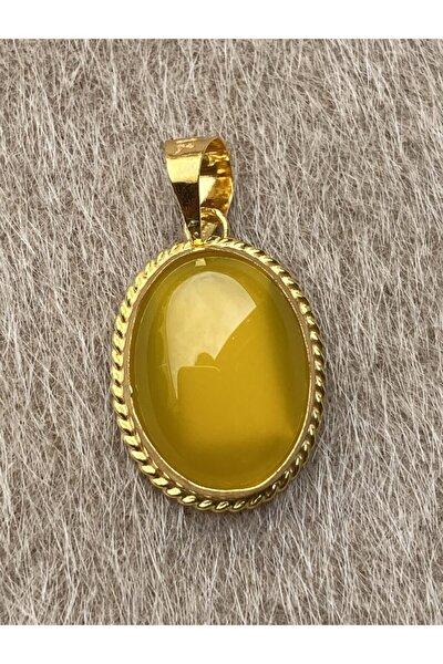 14 Ayar Altın Kehribar Taşlı Oval Kolye Ucu
