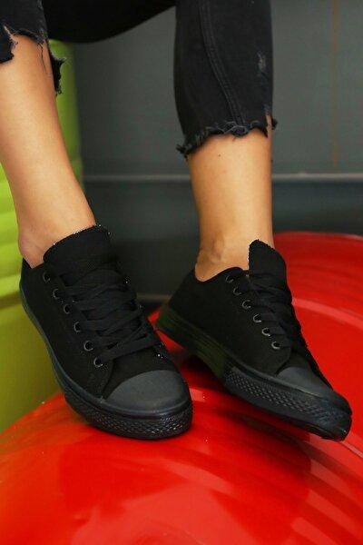 Kadın Siyah Keten Kısa Convers Ayakkabı