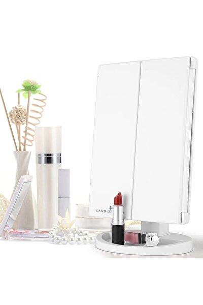 1X-2X-3X+10X HD ZOOM 37 Şerit LED Işıklı Makyaj Aynası, 3 Panel, Katlanabilir Beyaz