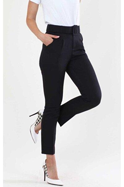 Kadın Siyah Kemerli Kumaş Pantolon