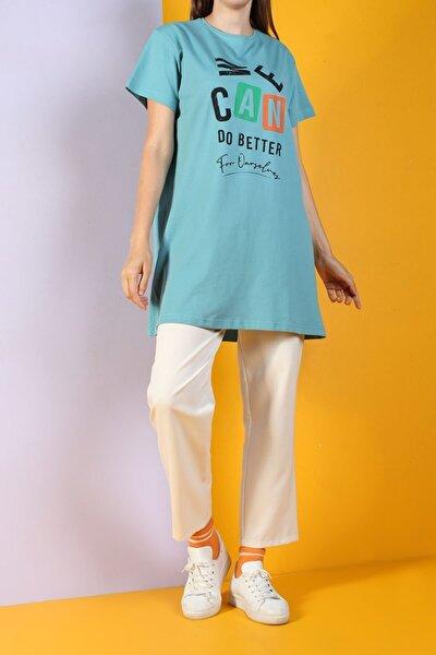 Kadın Cam Göbeği Baskılı Kısa Kol T-shirt