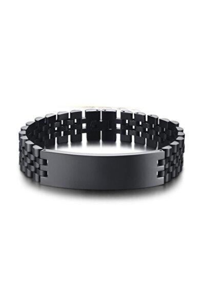 Erkek Siyah 316 L Geniş Çelik Bileklik Eb83