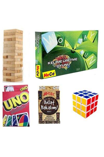 Kelime Üretme Oyunu+uno Kart+anlat Bakalım Tabu+54 Parça Denge Oyunu+3x3 Zeka Küpü 5'li Oyun Seti