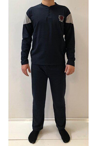 Lacivert Uzun Kol Erkek Kışlık Pijama Giri Kol Detaylı