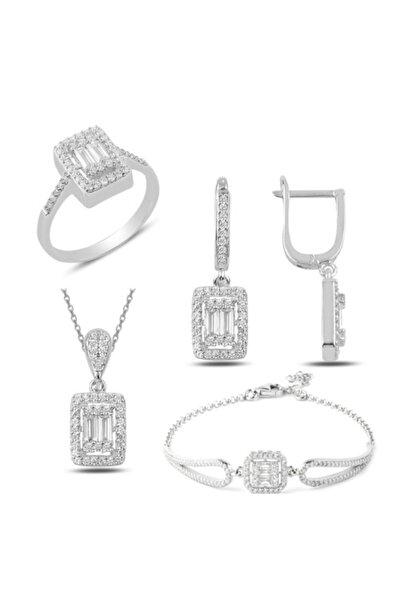Gümüş Rodyumlu Baget Taşlı Kolye Küpe Yüzük Ve Bileklik Set
