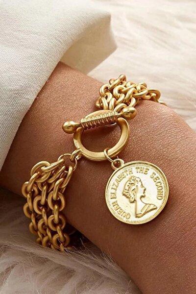 Paslanmaz Gold Altın Kaplama Madalyon Bayan Zincir Bileklik Bilezik