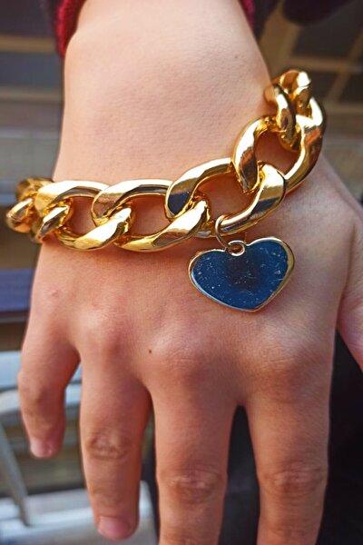 Büyük Boy Kalp Tasarım Paslanmaz Gold Altın Kaplama Bayan Zincir Bileklik